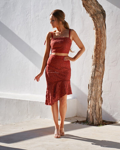 Skyler Lace Skirt - Burnt Orange