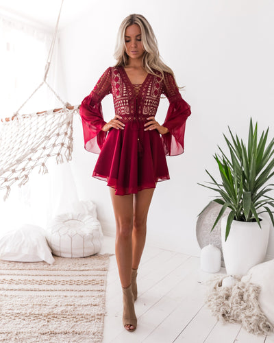 Alyse Dress WINE (PRE-ORDER)