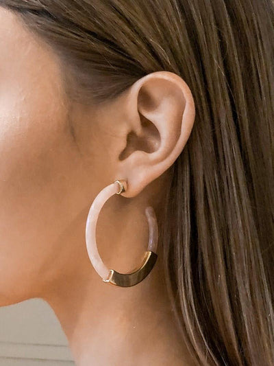 Elophia Stone Texture Semi Hoop Earrings - Pink