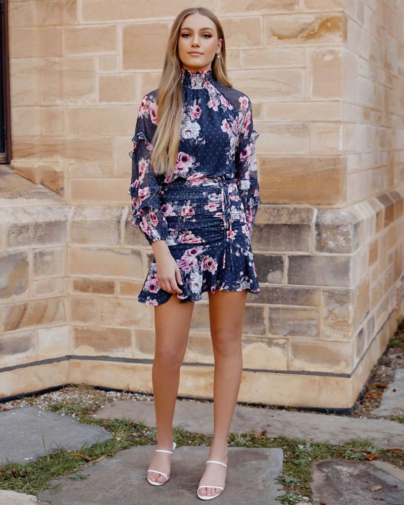 Twosisters The Label Piper Dress Navy Floral