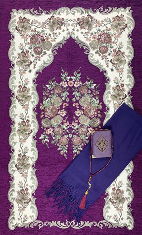 4 Piece Islamic GIft Set: Prayer Rug Hijab Quran and Tasbih - Purple - Gift Sets - Siraj