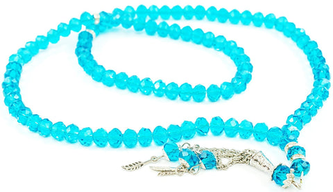 99 Bead Acrylic/Crystal Tesbih - Celestial Blue - Prayer Beads - Siraj