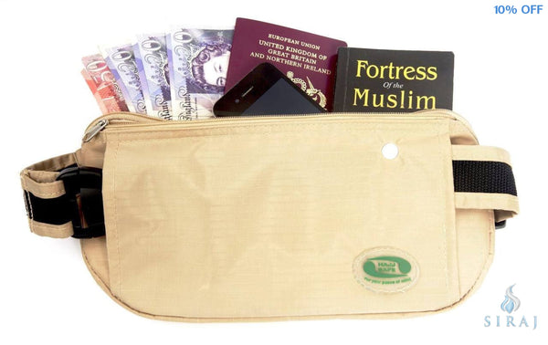 Anti-Theft Waist Bag and Ihram Belt - Beige - Travel Accessories - Hajj Safe