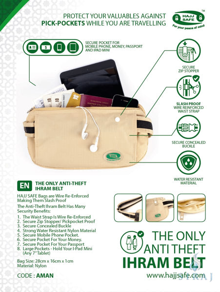 Anti-Theft Waist Bag and Ihram Belt - Travel Accessories - Hajj Safe