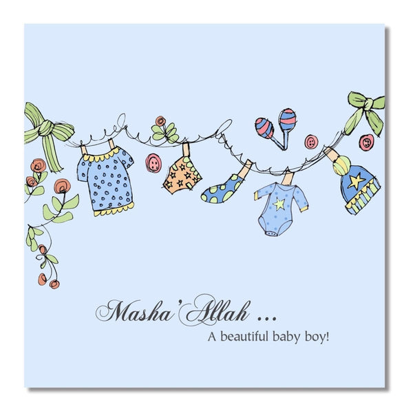 Baby Boy Clothesline - Greeting Cards - Islamic Moments