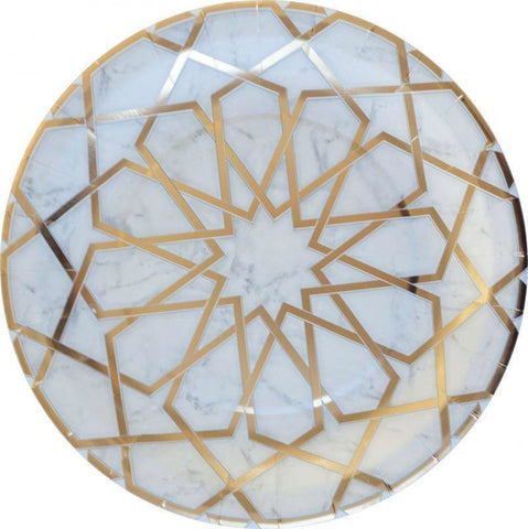 Carrara Marble Arabesque Dinner Plate 10 - Tableware - Eid Creations