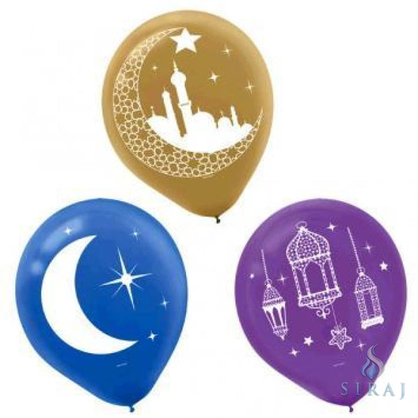 Crescent Moon & Mosque Eid Balloons 15ct - Balloons - Amscan