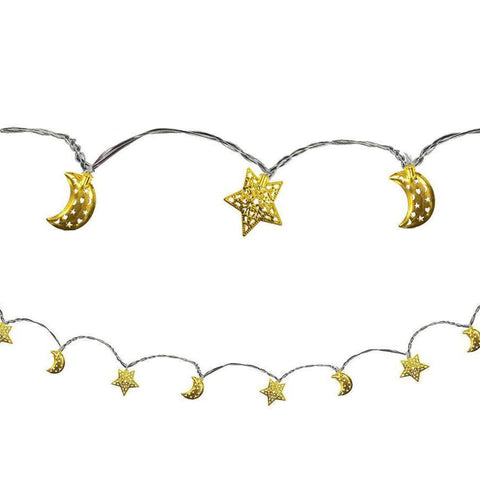 Crescent Moon & Star Eid LED String Lights - Lights - Amscan
