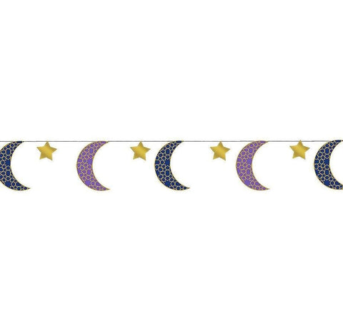 Crescent Moon & Star Eid String Decorations 6 Count - Party Decor - Amscan