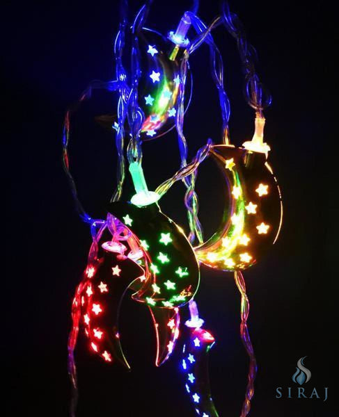 Crescent Moon String Lights - Silver Multi Color - Lights - Siraj