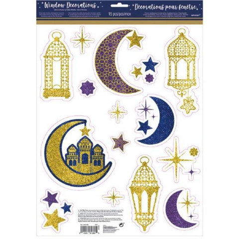 Eid Celebration Glitter Window Cling Decals 15 Count - Decor - Amscan