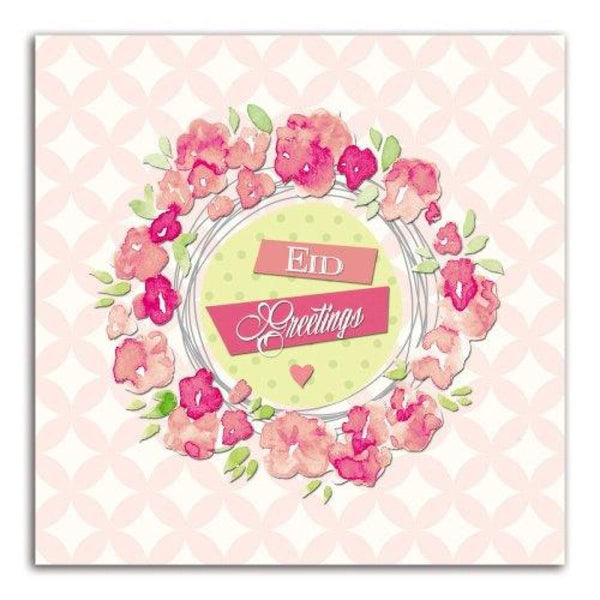Eid Greetings Floral Pink - Greeting Cards - Islamic Moments