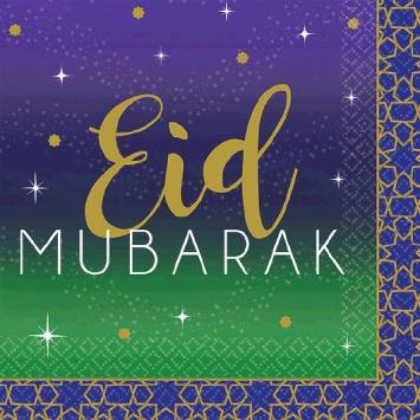 Eid Mubarak Beverage Napkins 16ct - Tableware - Amscan
