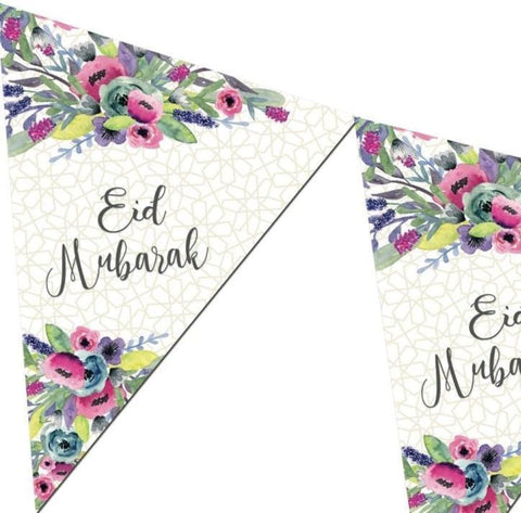 Eid Mubarak Bunting Kit - Watercolor Flowers - Decorations - Islamic Moments