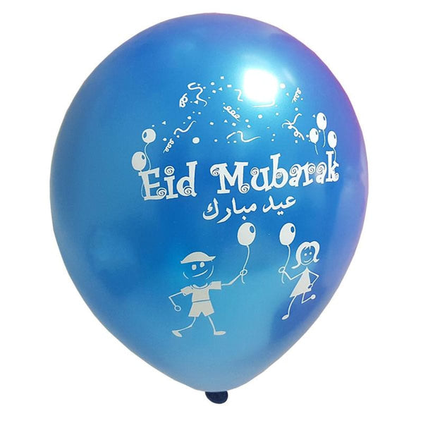 Eid Mubarak Latex Balloons (Assorted Metallic Colors) 20 pk - Balloons - Noorart