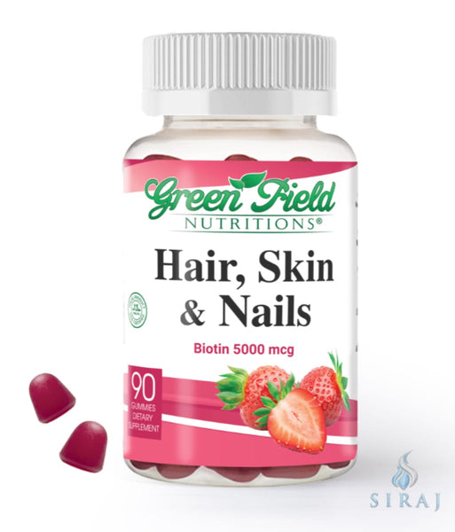 Hair Skin and Nails Vitamin (5000 mcg Biotin) - Halal Vitamins - Greenfield Nutritions