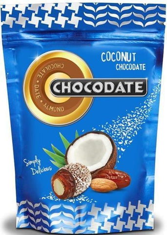 Halal Chocolate Dates - Coconut Chocolate 225g - Dates - Chocodate