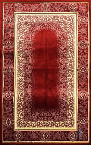 Luxury Plush Memory Foam Prayer Rug - Celestial - Red - Prayer Rugs - Siraj