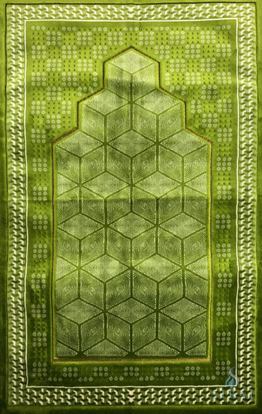 Luxury Plush Memory Foam Prayer Rug - Geometric - Green - Prayer Rugs - Siraj
