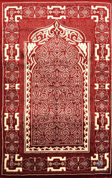 Luxury Plush Memory Foam Prayer Rug - Stellar - Red - Prayer Rugs - Siraj