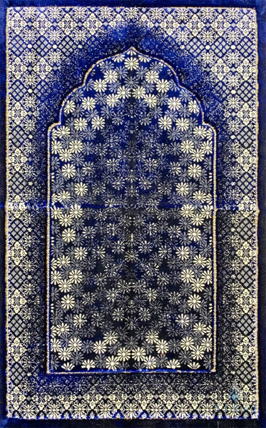 Luxury Plush Prayer Rug - Irshad - Dark Blue - Prayer Rugs - Siraj