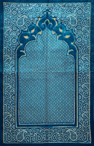 Luxury Plush Prayer Rug - Nur - Blue - Prayer Rugs - Siraj