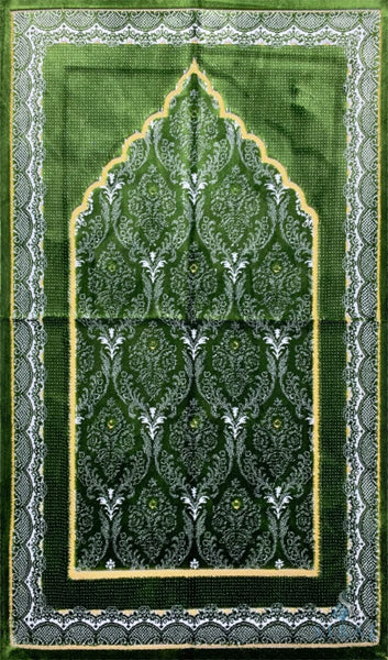 Plush Ipek Prayer Rug - Yaqeen - Green - Prayer Rugs - Siraj