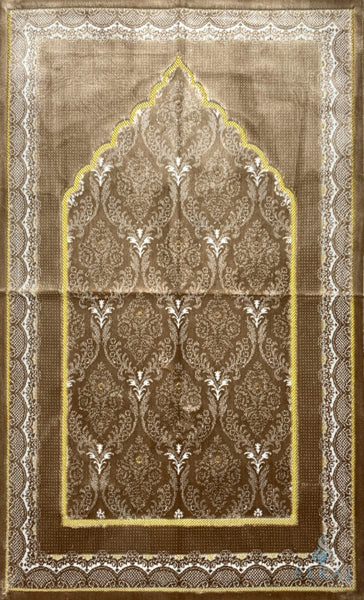 Plush Ipek Prayer Rug - Yaqeen - Light Brown - Prayer Rugs - Siraj
