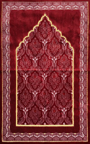 Plush Ipek Prayer Rug - Yaqeen - Red - Prayer Rugs - Siraj