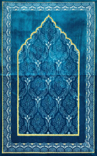 Plush Ipek Prayer Rug - Yaqeen - Blue - Prayer Rugs - Siraj