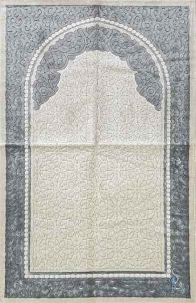 Plush Velvet Prayer Rug - Sina Floral - Light Gray - Prayer Rugs - Siraj
