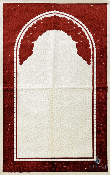 Plush Velvet Prayer Rug - Sina Floral - Red - Prayer Rugs - Siraj
