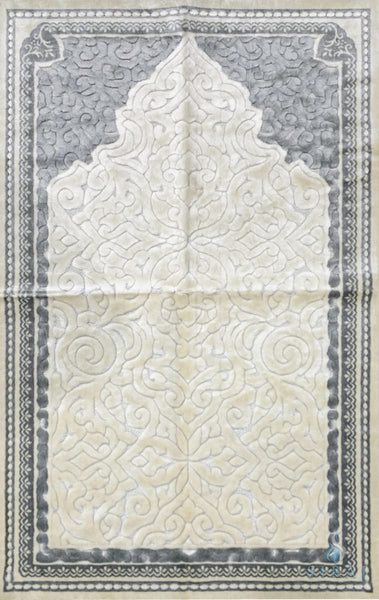 Plush Velvet Prayer Rug - Sina Mihrab - Light Gray - Prayer Rugs - Siraj