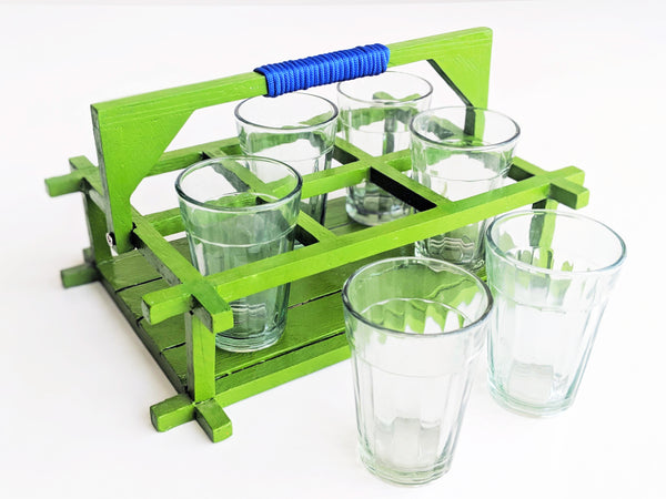 Chai Glasses - Set of 6 - Green caddy with plain glasses