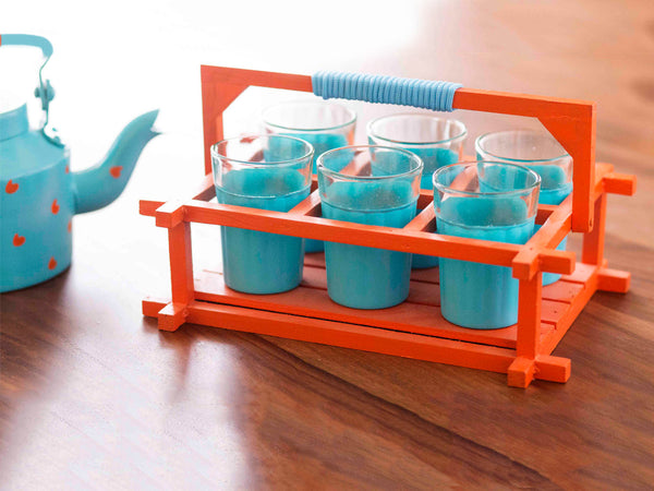 The Chaiwala Tea Set - Aquamarine & Orange