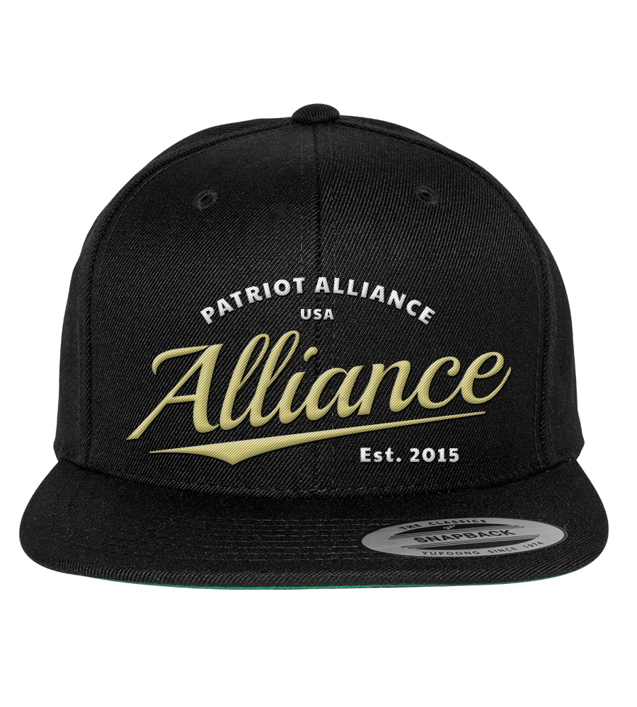 Alliance Script Flat Bill Snapback Hat, Black
