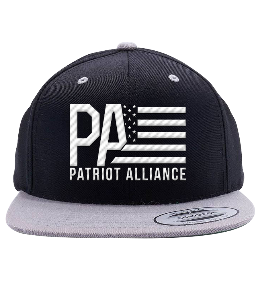 PA Flat Bill Snapback Hat, Black/Grey