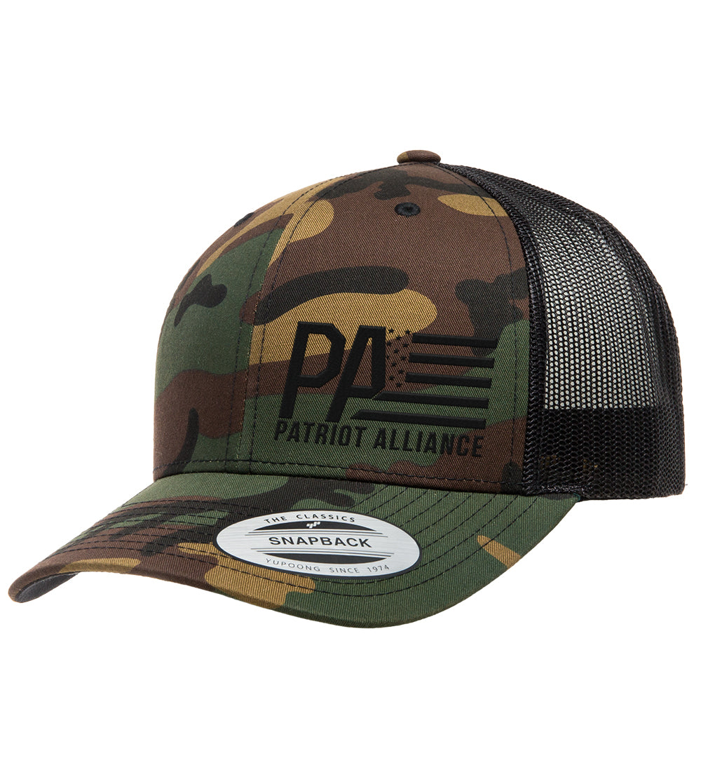 PA Curved Bill Snapback, Camo/Black