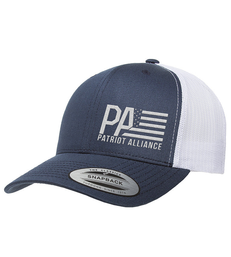 PA Curved Bill Snapback, Navy/White