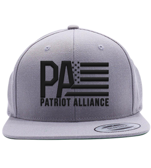 PA Logo Flat Bill Snapback Hat, Grey