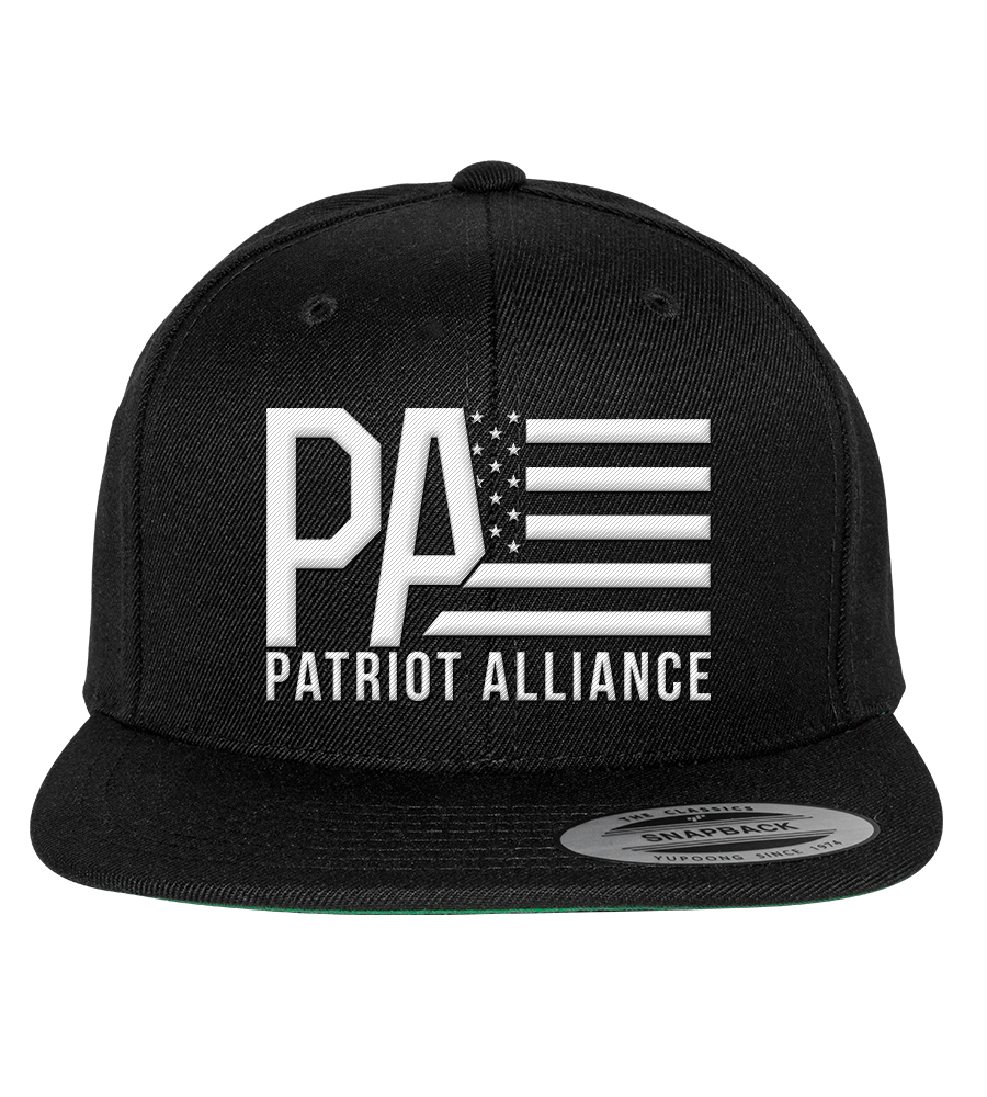 PA Logo Flat Bill Snapback Hat, Black