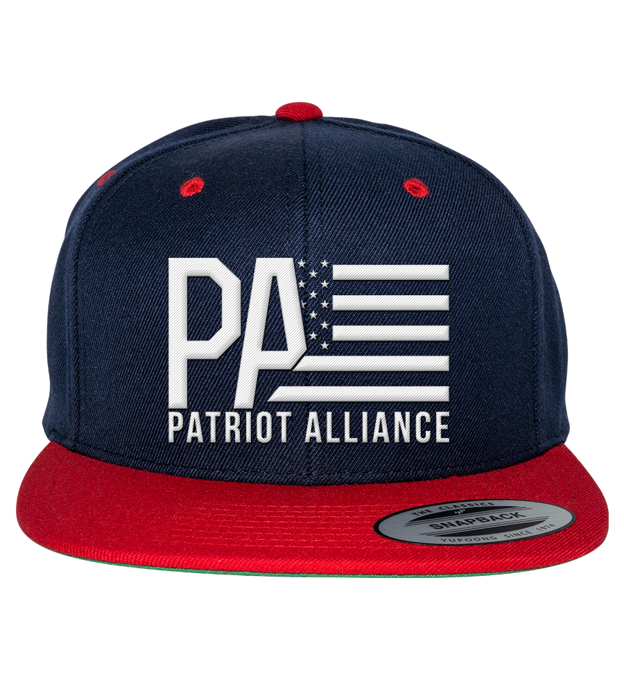 PA Logo Flat Bill Snapback Hat, Navy/Red