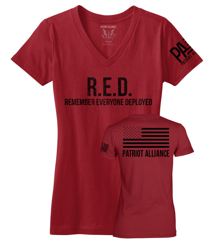 R.E.D., Women's V Neck, Red