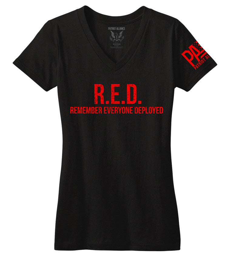 R.E.D. Women's V Neck, Black
