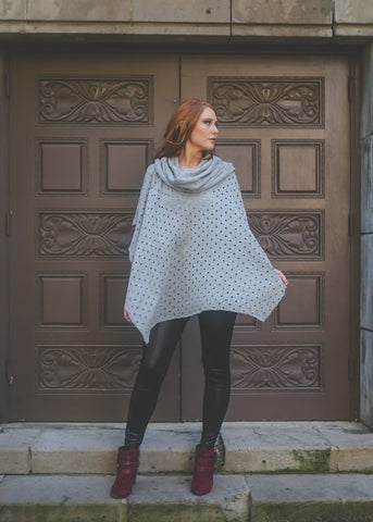cowl neck poncho - heather grey , outerwear - ELEVALE, ELEVALE  - 1