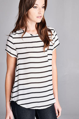 striped pocket blouse | ELEVALE