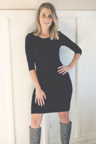 long sleeve bodycon midi dress - black - ELEVALE