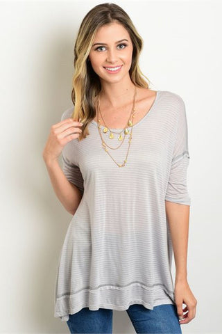 grey open back tee S, casual top - ELEVALE, ELEVALE  - 1