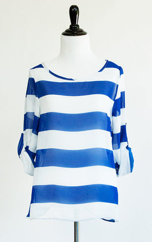 striped tulip back blouse - ELEVALE