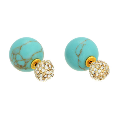 double sided stud earrings - turquoise pave | ELEVALE